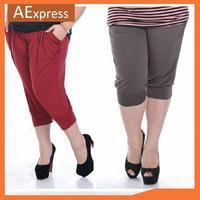 Plus Size Summer Korean Fashion Women Clothing, Casual Harem Capris with Double Pockets, XL, XXL, XXXL, P-191