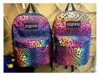Freeshipping 2015 Harajuku zipper lovers backpacks neon leopard print shoulder school bag skateboard galaxy bagpacks BK273