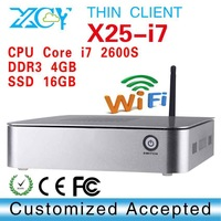 XCY X25-I7 Intel core i7 2600S thin client mini pc i7 computer SSD 16GB support Linux OS Ubuntu with 4*Usb port
