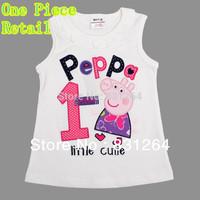 Free Shipping Retail Cartoon Clothing Girls Branded Clothing Girls T shirt Summer Sleeveless Peppa Pig Clothes Girls Tops