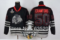 2013 Stanley Cup Champions Patch Chicago Blackhawks #50 Corey Crawford Black Ice Skull Heads Ice Hockey Jersey Free Shipping
