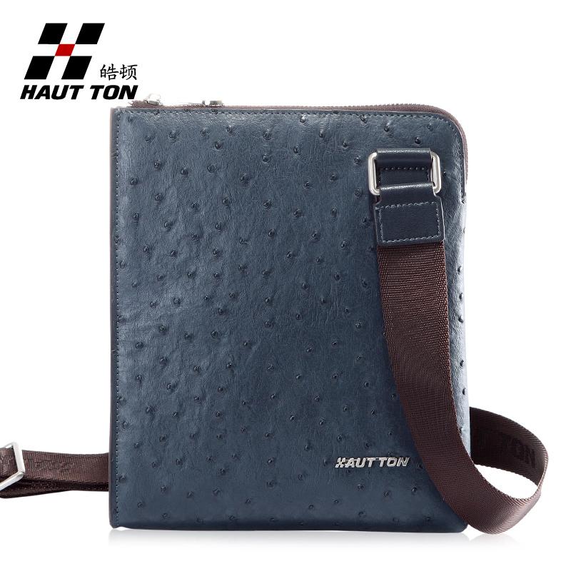 Fine man bag ostrich grain fashion casual shoulder bag commercial male messenger bag(China (Mainland))