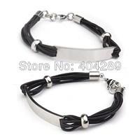 Wholesale 10pcs Black/Dark coffee Genuine Leather 316L Stainless Steel ID Bracelets