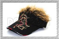 Zipang Studio Fake Hair Hairy Wig Baseball black Golf Visor Hat Cap Tournament free shipping
