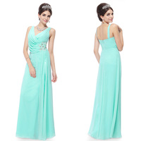 Free Shipping 09963 V-neck Ruched Bust Rhinestones Applique Slitted Blue party wear long dresses