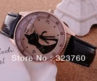JW109 Black Cat Ladies Fashion Watch Women Rhinestone Wristwatches Brown Glass High Quality Pu Leather Strap Dress Watches