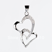 GND0303 New Arrival 2013 Fashion 925 Sterling silver Micro pave CZ Jewelry Double Hearts Pendant for women Free shipping 15x30mm