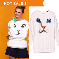 Casual White Animal Hoodie Pullover for Women O-Neck Hoodies Plus Size Harajuku Blue Eyes Cat Printed Long Sweater Shirt