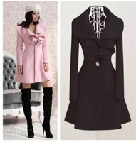 Free shipping wholesale Women's Trench Coat Fashion Wool Blends Slim Thickening Coats Lovely Ruffle Decorate Outerwear