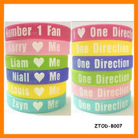 One Direction Number 1 Fan 1D Silicone Bracelet (120 pcs/lot) Free Shipping ZTOD-B007