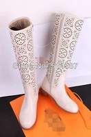 New arrival Fall beige gladiator perforated sandal boots flat knee boots floral booty for women side zipper top quality shoes
