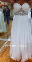 Custom Available White Chiffon Long Crystal Rhinestone Prom Dress 2014 New Arrival WH333