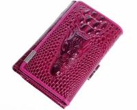 New Hot crocodile design genuine leather luxurious women short wallet lady purse card package free shipping WBG0802