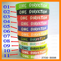New Colorful One Direction Silicone Bracelet (100 pcs/lot) Free Shipping ZTOD-B008