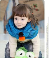 2013 Free shipping baby Winter Scarves  double layer candy colors with balls O-Scarves 5pcs/lot 5 colours