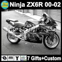 7giftsFor 00 01 02 black silver KAWASAKI ZX6R ZX 6R 6 R ZX-6R 2000 2001 2002 Q7443 NINJA ZX636 silvery flames ZX-636  Fairing