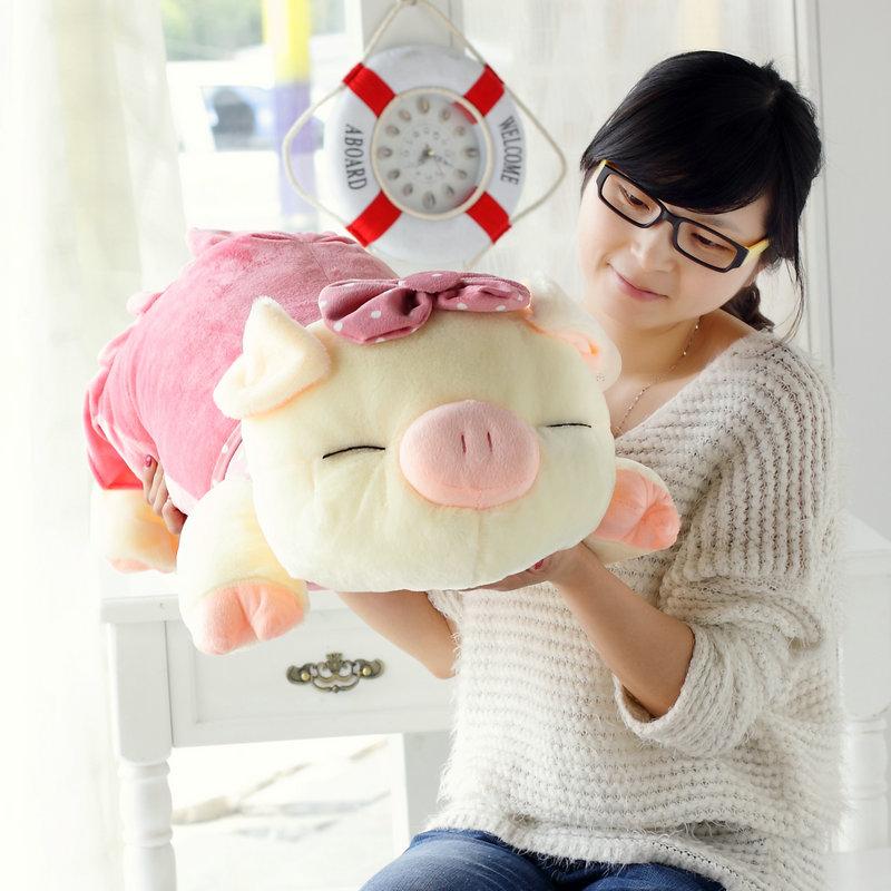 Pequenas bolinhas três cis- porco de pelúcia porco brinquedo Grande pano boneca de presente de aniversário travesseiro porco feminino boneca(China (Mainland))