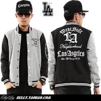 Limited edition la hiphop hip-hop lovers design cardigan baseball uniform jacket outerwear