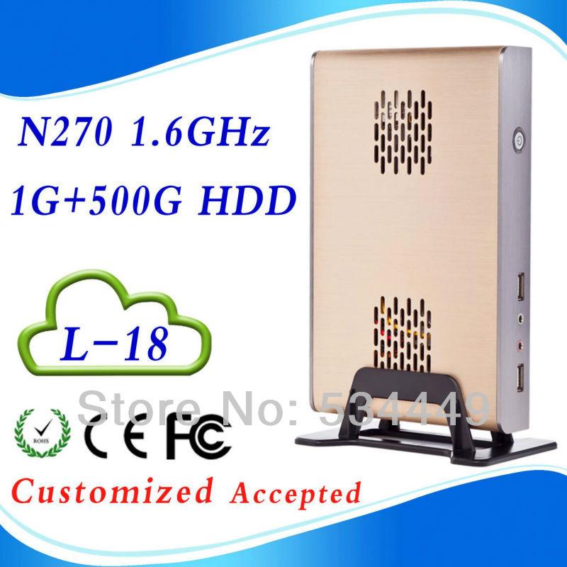 Itx case nettop fanless pc terminal 2g ram 500G HDD INTEL ATOM N270 1.6 GHZ Support WIN7, Linux,Windows XP 6*USB 2.0(China (Mainland))