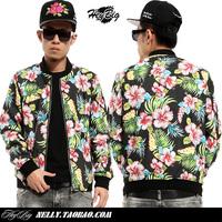 Vintage heybig national trend flowers slim stand collar jacket outerwear male hip-hop hiphop fluid