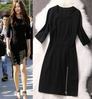 New Black Bandage Dress Slim 3/4 Sleeve Spring 2014 Formal Dress Zip Up Trim Bodycon Cotton Elastane Dress SS14D001