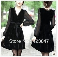 Factory direct sale free shipping 2013 new autumn and winter women's dress bottom dress pleuche women dress code