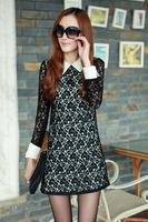 Free Shipping autumn slim lace crotch long-sleeve dress sexy hip slim long-sleeve dress #MM08