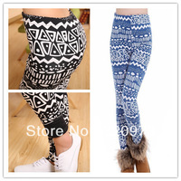 Free shipping 2013 hotsale women Winter thicken warm vintage print geometric leggings factory price
