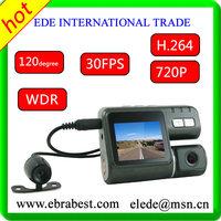 "Portable Dual lens Car DVR 2.0"" TFT Full HD 720P 1280*720 Ultra Clear Camera 1.2MP 120 degree G-sensor Multi Video Locks"