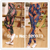 free shipping 2013 Winter new arrival women elastic thickening warm velvet printed flower retro legging factory price