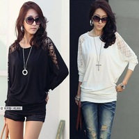 2013 New Plus Size M-XL Womens Lace Tops Casual Fashion T-shirt Loose Tee Hollow Out Long-sleeved Batwing Free Shipping