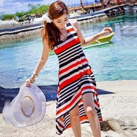 Korean striped suspenders irregular hem dress / beach dress bohemian dress