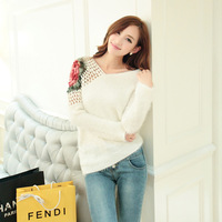 Free Shipping Winter bat sleeve sweater coat sweater Korean loose vl collar mohair female loose roses pullover sweaters