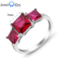 Red Cubic Zirconia CZ Rhodium Plated Rings For Women JewelOra #RI101205  Fashion Jewelry  Lady  Rings