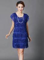 Free Shipping hot sale blue dresses new fashion 2014 new summer  tassels elegant lace casual dress 21162
