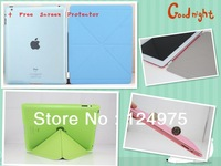 MOQ 1PAIR 2 In One PU Leather Magnetic Smart Cover Transformer Folding Cross Pattern Cover+Crystal Hard Back Case For IPAD 2 3 4