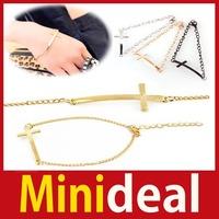 rising stars [MiniDeal] New Fashion 3 Colors Retro Punk Gothic Metal Cross Chain Bangle Bracelet Hot hot promotion!