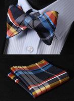 BC4010B Blue Orange Check Classic 100%Silk Jacquard Woven Men Butterfly Self Bow Tie BowTie Pocket Square Handkerchief Suit Set