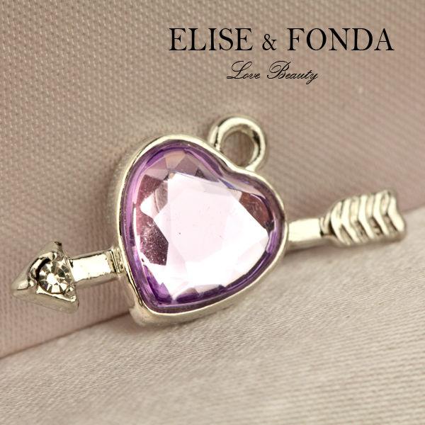 H118 Hot Sale 3 pcs Purple Heart Cupid Charm Pendant