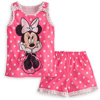 5pcs/lot wholesale gril's clothes, vest dot cartoon t-shirt pants baby gril 2pcs set ,summer kid's set ,baby clothes