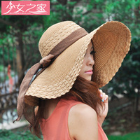 Korean version of the summer beach hat large brimmed hat bow visor big brimmed straw hat dome
