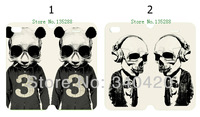 2014 free shipping Hot Newest arrival 2pcs/lots wholesale skeleton of panda PU leather card foldable case  for iphone 4 4G 4S