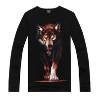 New style 3D printed t-shirts for man 16 model Free shipping men t shirt mens Fashion vest 3d cotton long-sleeved t shirt wolf