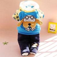 2013 winter new Korean style thick cotton baby clothing set suit dog out clothes suit infants