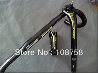Green handlebar seatpost stem Carbon road bike bicycle handlebar set Free shipping