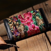 New arrival fine quality women's embroidered wallet long design wallet card holder packaging handbag
