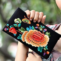 2013 vintage national trend handbag embroidered small bag sewing thread day clutch coin purse female long paragraph handbag