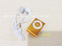 Free ship Mini Clip MP3 player with micro sd card slot  clip mp3 player + earphone)