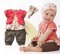 Free Shipping  3 Pcs Baby Girls Fruits Pattern Top+Pants+Hat Set Outfits