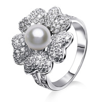 2014 New  Flower With Pearl Cubic Zirconia Diamond Rings Setting Crystal CZ Stones 2 Colors (Gold & Platinum ) Free Shipping